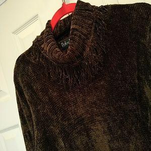 Plush Loose Turtleneck Fringed Sweater